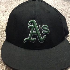 Oakland A's baseball cap.